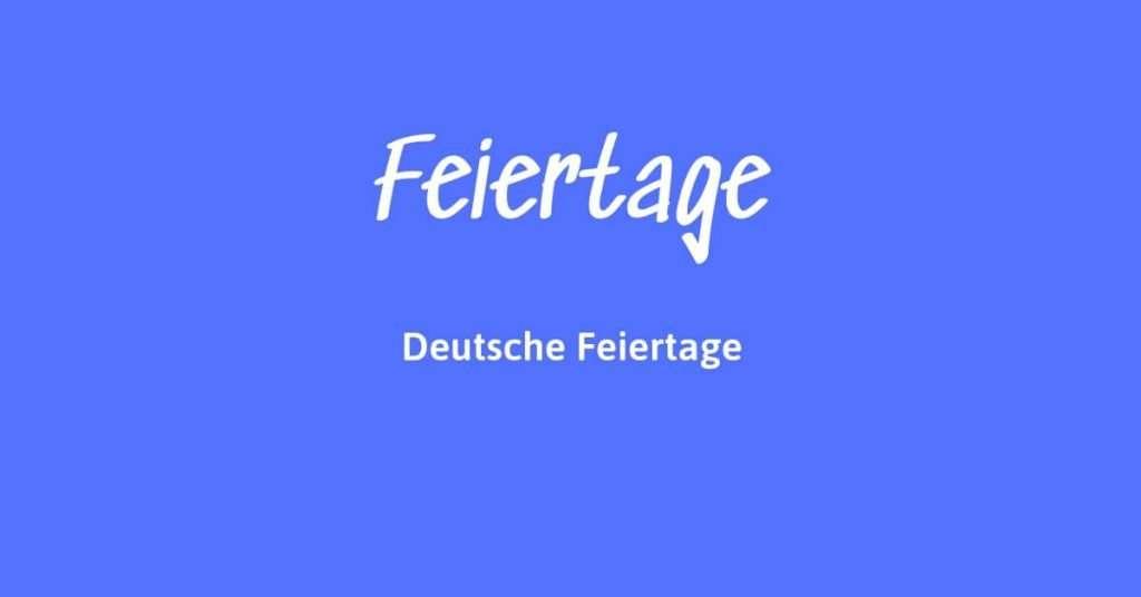 Kalender mit deutschen Feiertagen