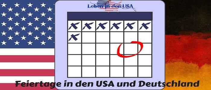 Kalender für Deutsche in den USA