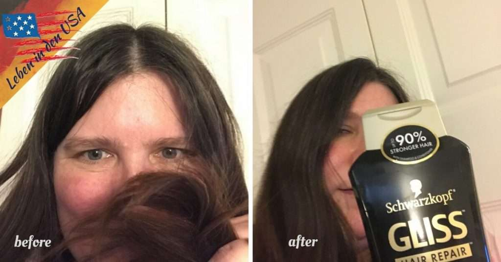 Before and after Schwarzkopf Gliss Hair Repair Ultimate Repair Shampoo