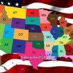 Staaten in Nordamerika - Karte mit den States der USA