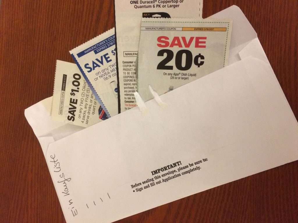 Nutze einen Umschlag für deine Einkaufsliste beim Couponing