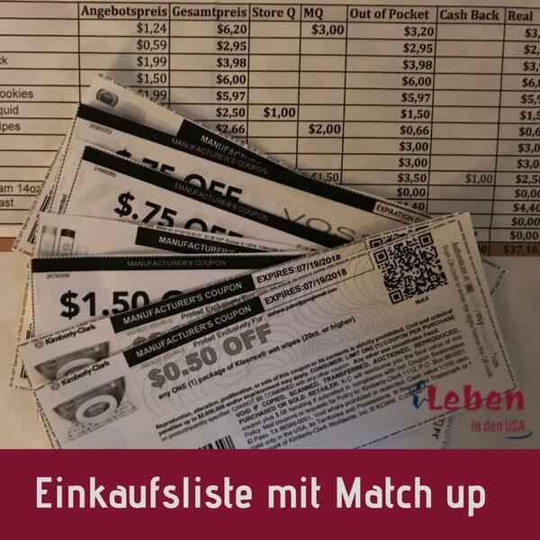 Einkaufsliste zum Couponen Profi Matchup