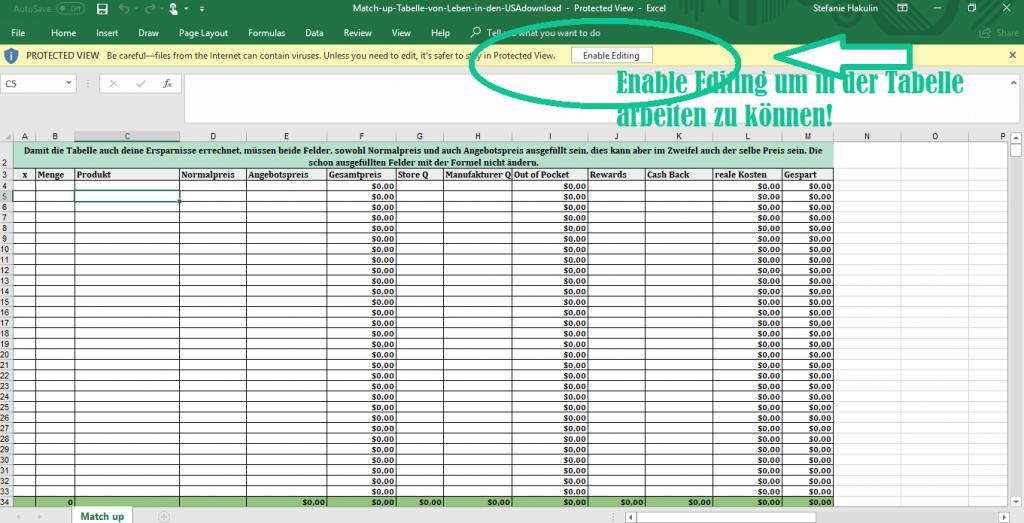 Erstelle deine Einkaufsliste zum Couponen mit Match up mit dieser Excel Tabelle