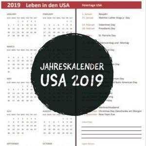 2019 Jahreskalender USA Feiertage