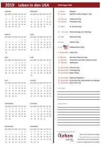 Kalender zum ausdrucken mit amerikanischen Feiertagen