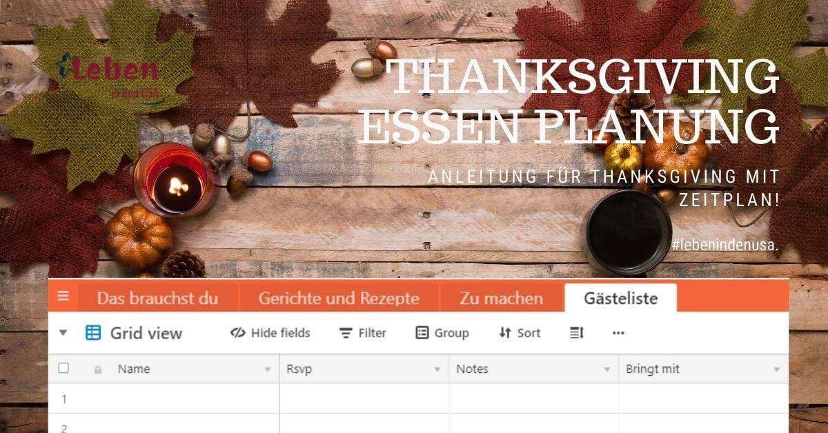 Thanksgiving Essen Planung